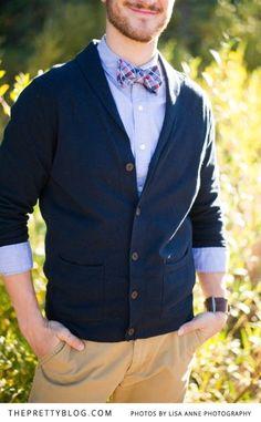 Bow tie, light blue shirt, navy cardigan | Photographer: Lisa Anne Photography