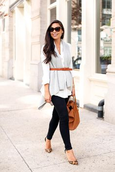 street style - street chic style - fall outfits - casual outfits - business casual - office wear - work outfits - fall / winter - white long shirt + grey long cardigan + brown belt + brown handbag + leopard print stilettos + black skinny jeans + brown sunglasses