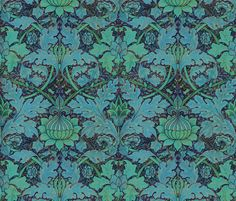 William Morris ~ Growing Damask ~ Night Garden  ~ by PeacoquetteDesigns on Spoonflower ~ bespoke fabric, wallpaper, wall decals & gift wrap ~ Join PD  ~ https://www.Peacoquette.com  #Spoonflower #Peacoquette