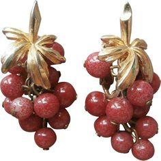 Boucher Vintage Earrings Glass Grape Cluster Leaf  Signed Dangle