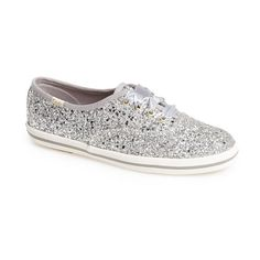 Women's Keds For Kate Spade New York Glitter Sneaker ($80) ❤ liked on Polyvore featuring shoes, sneakers, silver glitter, silver sneakers, silver glitter sneakers, kate spade, glitter sneakers and glitter shoes