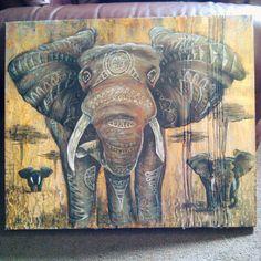 Original Painting. Elephant. Acrylic on canvas.