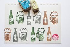 beer rubber stamps. hand carved rubber stamp. hand carved stamp. beer in the glass. beer bottle. diy projects. set of 2. READY TO SHIP