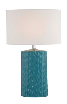 Lite Source LS-22753 Tuwa 1 Light Table Lamp with Off-White Fabric Shade Turquoise Lamps Table Lamps Accent Lamps