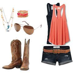 Cowboy boots, aviators, coral tank and jean shorts - Love!