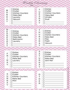 Weekly Cleaning Calendar Printable - Now in Pink Chevron!