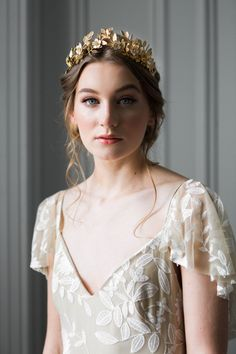 Laurel Leaf Flower Crown Gold Tiara Leaf Halo by AnnaMarguerite