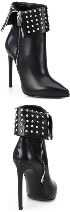 Saint Laurent Black Paris Fold-Over Studded Leather Ankle Boots Fall 2014 #Shoes #Heels #Booties