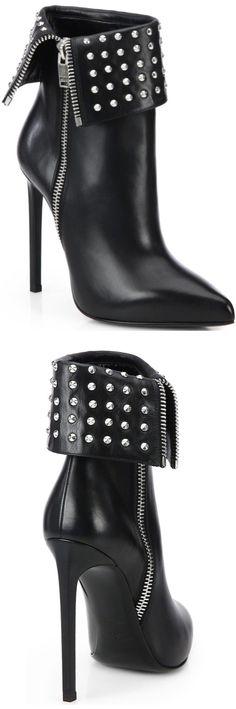 #Saint Laurent Paris Fold-Over Studded Leather #Ankle Boots