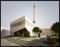 Mosque,Pogradec on Behance Mosque Architecture, Modern Architecture House, Architecture Plan, History Of Islam, Beautiful Mosques, Apartment Plans, Master Plan, Place Of Worship, Architect Design