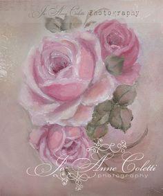 April Canvas Print-shabby chic roses, vintage rose painting, antique art, JoAnne Coletti, romantic rose canvas print