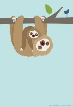 Pictures - Poster - Sloth with Baby - by Topsy - Topsy - a unique product by petit_mouton on DaWanda Jungle Animals, Baby Animals, Cute Animals, Baby Sloth, Cute Sloth, Pinterest Foto, Alphabet Poster, Sloth Tattoo, Tattoos For Daughters