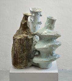 Johannes Nagel   (1) Vessels Cluster   2015, Porcelain, Sand, Celadon   Unique   Germany http://www.galleryfumi.com/Artists/Johannes-Nagel/