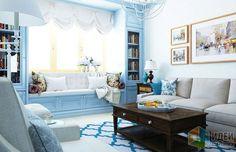 Голубая гостиная, интерьер голубой гостиной, американский стиль в интерьере