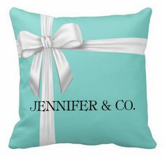 Personalized Tiffany & Co Inspired Tiffany Blue Throw Pillow