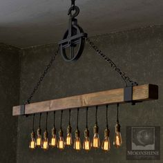 The Dunsmuir incorporates good old fashioned steel and solid wood, evoking a past era akin to the American Industrial Age. Hang this rustic 4×4 beam over your farmhouse table or in your rustic barn.