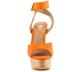 Shellys London Aaelle - Orange ($140) ❤ liked on Polyvore featuring shoes, sandals, orange sandals, ankle wrap sandals, high heels sandals, ankle strap high heel sandals and wooden platform sandals