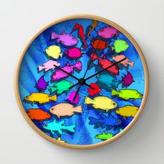 Great Barrier Reef Wall Clock by Tika Calderon - $30.00