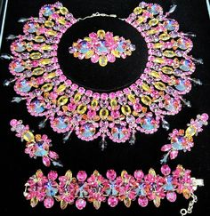 Dimartino Originals Massive Watermelon Rivoli Rhinestone Grand Parure Set | eBay