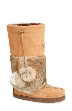 Free shipping and returns on Manitobah Mukluks 'Snowy Owl' Mukluk (Women) at Nordstrom.com. Genuine rabbit fur adds plush refinement to a tall suede boot finished with an intricate hand-beaded design. A sturdy Vibram® rubber sole offers sure-footed traction.