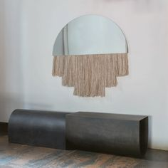 Half Moon Mirror: If a mirror and fiber art had a baby it would look like this. I'm in love with this piece.