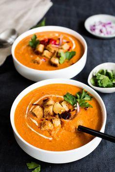 Cream Vegan Harissa Tomato Soup with Gluten-Free Croutons   #puremamas