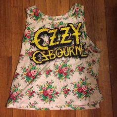ae70e2b6f985ef Floral Ozzy Osbourne Tank Top Amazing rock and roll crop top! Purchased at  urban outfitters brand Trunk LTD.