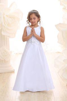 White Satin Sleeveless Long Flower Girl Dress