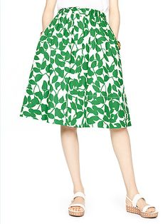 garden leaves poplin skirt
