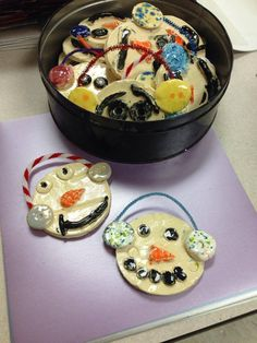 From Mrs. picasso's Artroom- clay snowman ornaments
