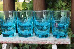 4 turquoise old fashioned glasses blue Capri by polkadotsandcurls