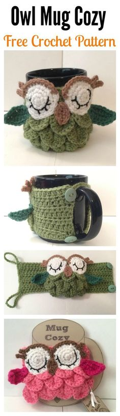 Häkelarbeit-Eulen-Kaffee- / Tee-Becher Gemütliches freies Muster