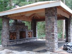 outdoor fireplace, patio, stone, covered patio, outdoor living, hearth, columns, landscaping, lake oswego