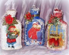 Декор, декупаж новогодних бутылок, 2012 год