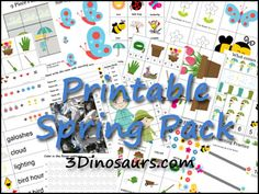 Free Spring Printable Pack from 3 Dinosaurs