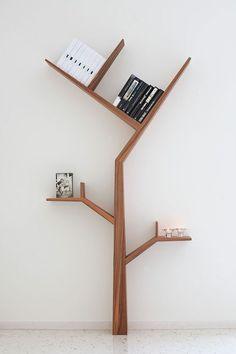 Creative Tree Bookshelf Designs Offering Natural Look : Minimalist SpaceSaving Solid Wood Tree Shaped Bookshelf Design Inspiration in White Themed Home Interior Design Unique Bookshelves, Tree Bookshelf, Modern Bookcase, Bookshelf Design, Bookshelf Ideas, Tree Shelf, Simple Bookshelf, Bookcase Decorating, Black Bookshelf