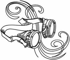 Craft steampunk masterpieces with this sketchy, swirly style! Downloads as a PDF. Use pattern transfer paper to trace design for hand-stitching.