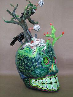 Paper Mache Skull (Calavera Campesina) by Felipe Linares