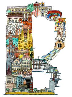Barcelona - ABC illustration series of European cities by Japanese illustrator Hugo Yoshikawa Scrapbooking Image, Famous Monuments, Travel Illustration, Book Images, Art Graphique, Painting For Kids, Art Plastique, Vintage Travel, Travel Posters