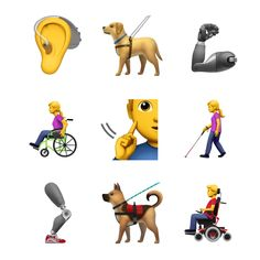 Apple has requested the Unicode Consortium add emoji to better represent individuals with disabilities. In total, Apple proposed 13 new emojis including a guide dog, hearing aid, and people using canes and wheelchairs. Le Emoji, World Emoji Day, Disabled People, Guide Dog, Apple New, Hearing Aids, Service Dogs, New Set, Disability