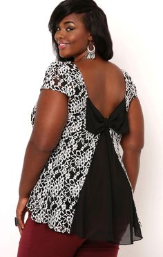 Deb Shops Plus Size Lace Fit and Flare Top with Bow Back $28.00