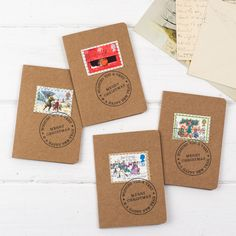 Pack of 4 Handmade Christmas Cards with Original Postage Stamps Stitched on -  Wishing You a Merry Christmas & a Happy New Year by ohsquirrelshop on Etsy https://www.etsy.com/listing/256010380/pack-of-4-handmade-christmas-cards-with