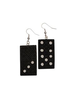 Domino earrings handmade by me from recycled board by AlexandraInn