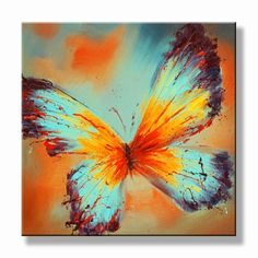 Kleurrijk Vlinder schilderij met rood geel turquoise & bruin
