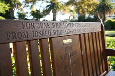"""Notting Hill Bench~""""FOR JUNE WHO LOVED THIS GARDEN FROM JOSEPH WHO ALWAYS SAT BESIDE HER"""""""