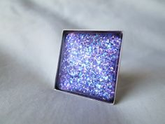 """Bright Purple Violet Mixed Glitter Nail Polish Adjustable Ring: 25mm / 1"""" Glass Square in Silver Tray Ring Setting"""