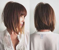 Inverted bob hairstyles still remains their popularity among women for long period. In this article, Super Inverted Bob Hairstyles are showcased for you. Inverted Bob Hairstyles, Bob Hairstyles With Bangs, Short Layered Haircuts, Short Hair With Bangs, Pretty Hairstyles, A Line Bob With Bangs, Medium Bob With Bangs, Hairstyle Ideas, Layered Cuts
