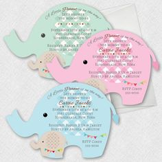 Adorable Elephant Baby Shower Invitations Pink Blue Green And More
