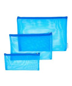 Blue Mesh Pouch - Set of Three #zulily #zulilyfinds