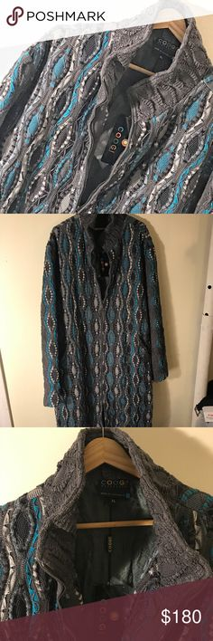 """⛄️HP⛄️COOGI GRAY SWEATER FOR MENS Warm and beautiful COOGI sweater in shades of gray, blue, black and white. NWT. I would describe it as a trench coat but in COOGI style. No flaws. From shoulder to tip of sweater it's 45"""" long. Zipper is 35.5"""" long. Left interior has pocket. Any questions please don't hesitate to ask. Get prepared because winter is coming soon!! ☃️☃️☃️ COOGI Shirts Sweatshirts & Hoodies"""